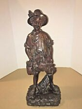 """Solid Bronze 20"""" Sculpture of Boy Hunter with his Hunted Hare and Birds"""