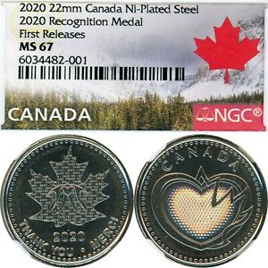 2011 - CANADA - 22 MM RECOGNITION MEDAL - NGC MS 67 - FIRST RELEASES - CERT 001