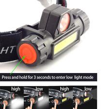 COB LED Headlamp USB Rechargeable Mini Headlight head light Torch Flashlight hi