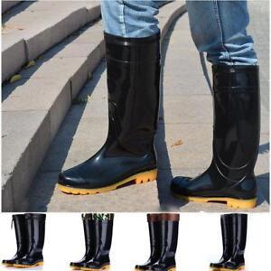 Men's casual Knee High Rain Boots Rubber Outdoor garden Anti-Slip Working shoes