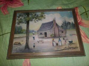 1938 Black Folk Art Log Cabin Painting