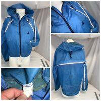 Cannondale Cycling Jacket M Men Blue Hood Nylon Full Zip Mint YGI G0-148