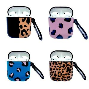 AirPods Case Cheetah Prints Cover For Apple 1st & 2nd Generation + Hook Clip