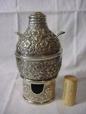 EGYPT Silver BEAN POT & Burner MINIATURE Novelty 900 REPOUSSE Foul Vintage 1946