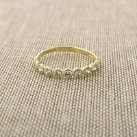 14k Yellow Gold Bezel Set Cubic Zirconia Band Ring