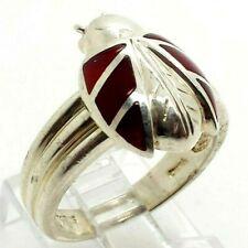 Fine Red Enamel Ladybug Sterling Silver 925 Ring 7g Sz.9 NEW332