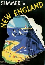 30s SUMMER IN NEW ENGLAND TRAIN TRAVEL ART DECO POSTER OCEAN LIGHTHOUSE VACATION