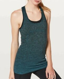 Lululemon Size 6 Swiftly Tech Run Racerback Poolside Black / Blue Tank Top Shirt