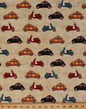 Cotton Taxi Cab Beetle Bug Scooters Cars Moped Cotton Fabric Print BTY D579.29