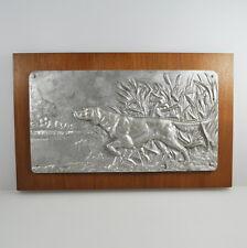 Zinnbild - Reliefbild - Zinn auf Holz - Jagdhund - Hund - Tin Hunting Dog Hound