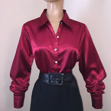 New PLUS 1X 2X 3X LIQUID SATIN Stretch BLOUSE Button/French Cuff Links Vtg Style