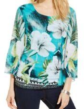 Jm Collection Petite Botanical Studded Angel-Sleeve Top, Teal Tripoli, PM