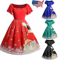Fashion Womens Dresses Christmas Plus Size Bow Santa Claus Print Vintage Dress
