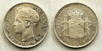 ALFONSO XIII 1 PESETA 1900*19-00 MADRID UNC-/S/C- COLOR Y BRILLO ORIGINAL