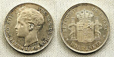 ALFONSO XIII 1 PESETA 1900*19-00 MADRID UNC-/S/C- COLOR Y BRILLO ORIGINAL
