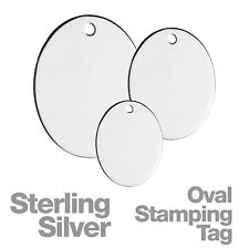 Sterling Silver Oval 1mm Pierced Hole Stamping Tags