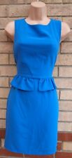 TOPSHOP BLUE RUFFLE FRILL PEPLUM ZIP BACK BODYCON SLEEVELESS PENCIL DRESS 8 S