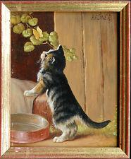 Michael Hesner *1944: Junge Katze hascht Schmetterling, Öl-Feinmalerei + Buch