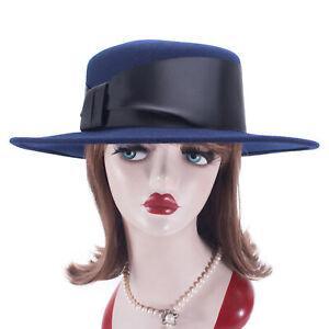 Womens Round Flat Top 100% Wool Felt Porkpie Fedora Boater Bolero Hat T405