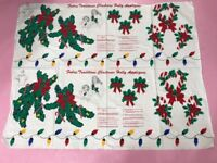 2 Fabric Panel CHRISTMAS HOLLY APPLIQUES~  Candy Canes~ Lights~