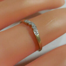 GENUINE DIAMONDS 9K SOLID YELLOW GOLD CURVED ETERNITY/WEDDING RING
