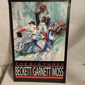 The Big Three Beckett Garnett Moss Poster Celtics Patriots Boston Red Sox Poster