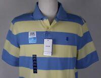 NWT Izod Advantage CoolFX SportFlex Polo Shirt MENS LARGE Lemon Blue Stripe
