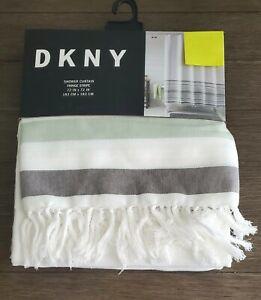 """DKNY  Fringe Stripe White Gray Green Shower Curtain 72"""" x 72"""""""