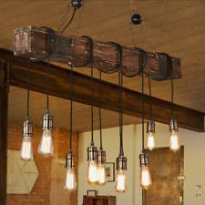 Retro Industrial Farmhouse Wood Beam Hanging Ambient long pendant Chandelier hot