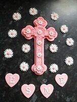 PERSONALISED EDIBLE BABY GIRL LARGE CROSS CHRISTENING CAKE TOPPER DECORATION
