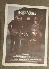 Supergrass in it for money 1997 press advert Full page 30 x 40 cm mini poster
