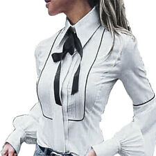 Camicia Donna Camicetta Blusa Casacca Manica Lunga Aderente Fiocco Cotone yy0572
