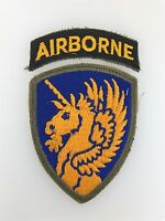 GENUINE WWII U.S. Army 13th Airborne Division cloth sleeve patch & Airborne tab