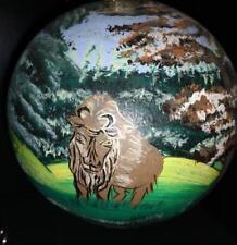 "European Bison Wisent Poland Polish Blown Glass Ornament Hand Painted NWT 6"""
