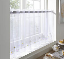 """Kitchen Voile Ready Made Café Net Curtain Panel Embroidered Designs White Daisy 24"""" Drop"""