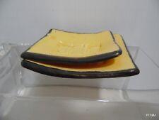 Sushi Plate Shoyu Soy Sauce Holder Handmade Ceramic Yellow Signed English Ramen