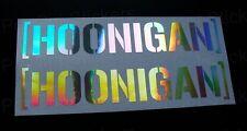 100mm (10cm) Hoonigan Silver Hologram Chrome Stickers Decals Ken Hooning Block