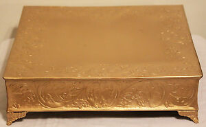 Grand Wedding Matte Gold Square Cake Stand Plateau 14In Wedding Cake