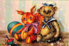 TEDDY AND BUNNY AMONG OTHER TOYS Modern Russian postcard