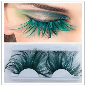 Crazy False Eyelashes Exaggeration Feather Cosmetic Party Green Eye Lashes