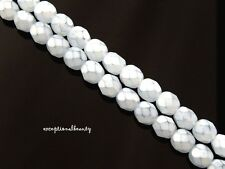 50 Preciosa Czech Vintage Coated Opal Light Blue 6mm Faceted Round Beads RARE