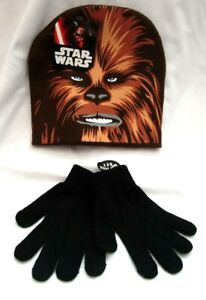 Halloween Brown with Chewbacca Face Applique Knit Beanie Hat+Black Gloves-New!