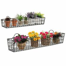 Metal Wire Basket Wall Mount Rack Shelf Storage Shelves Display Decor Set Of 2