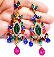Chandelier Earrings Rhinestone 3.5 in Multi Color