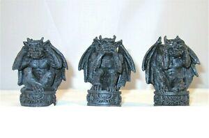 "Whimsical See Hear Speak No Evil Squatting Gargoyle Figurine Shelf Sitter Set 3"""