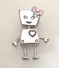 Bella Bot Robot Pink Bow Encanto Para Pulseras & Collares Plateado