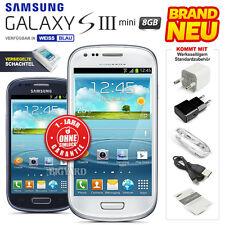 Neu Versiegelt Ohne Simlock SAMSUNG Galaxy S3 III Mini i8190 Weiß Blau 3G Handy