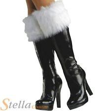 Santa Claus Fur Boot Top Cuffs Christmas Fancy Dress White Shoe Covers