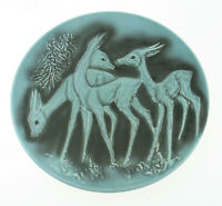Cortendorf Mid Century wgp Relief Wandteller Rehe Rehkitz türkis 50/60er Keramik