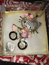Betsey Johnson Necklace Hello Kitty Pink Enamel On Bicycle Crystals Bling